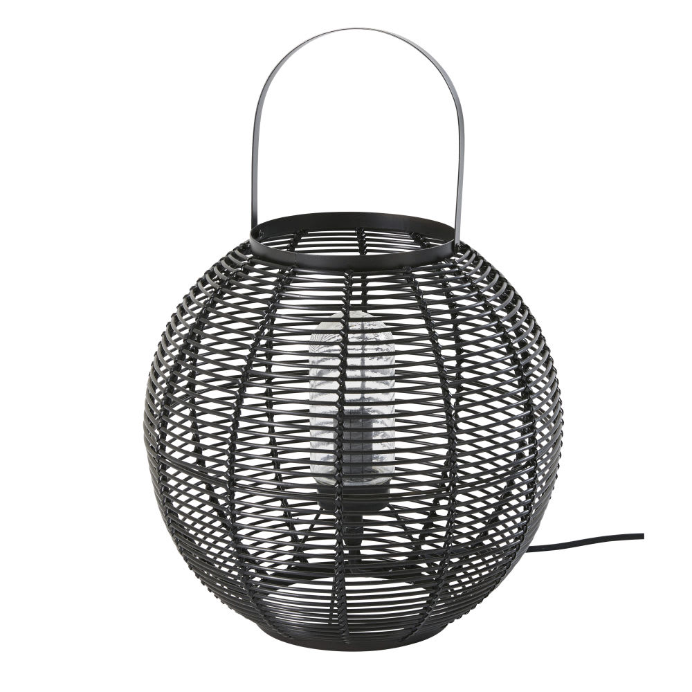 iba - lampe d'extérieur tressée imitation fibre végétale noire