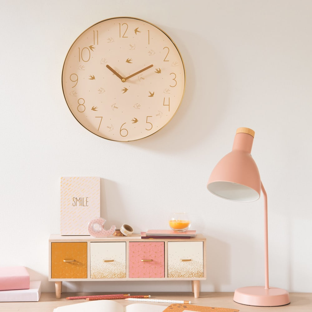 lampe de bureau en m tal rose poudr stella pink maisons du monde. Black Bedroom Furniture Sets. Home Design Ideas