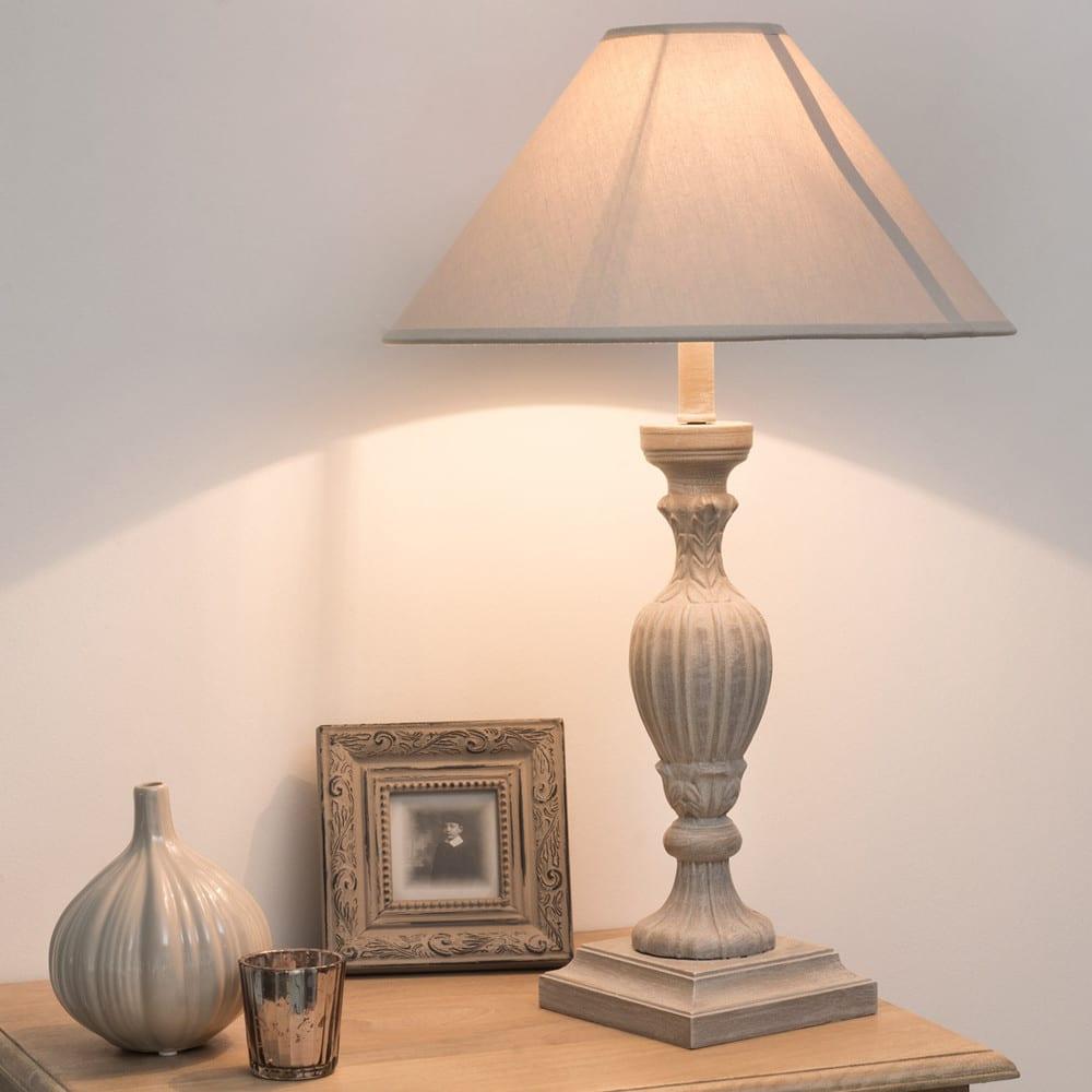 lampe de chevet grise et abat jour en tissu h 44 cm. Black Bedroom Furniture Sets. Home Design Ideas