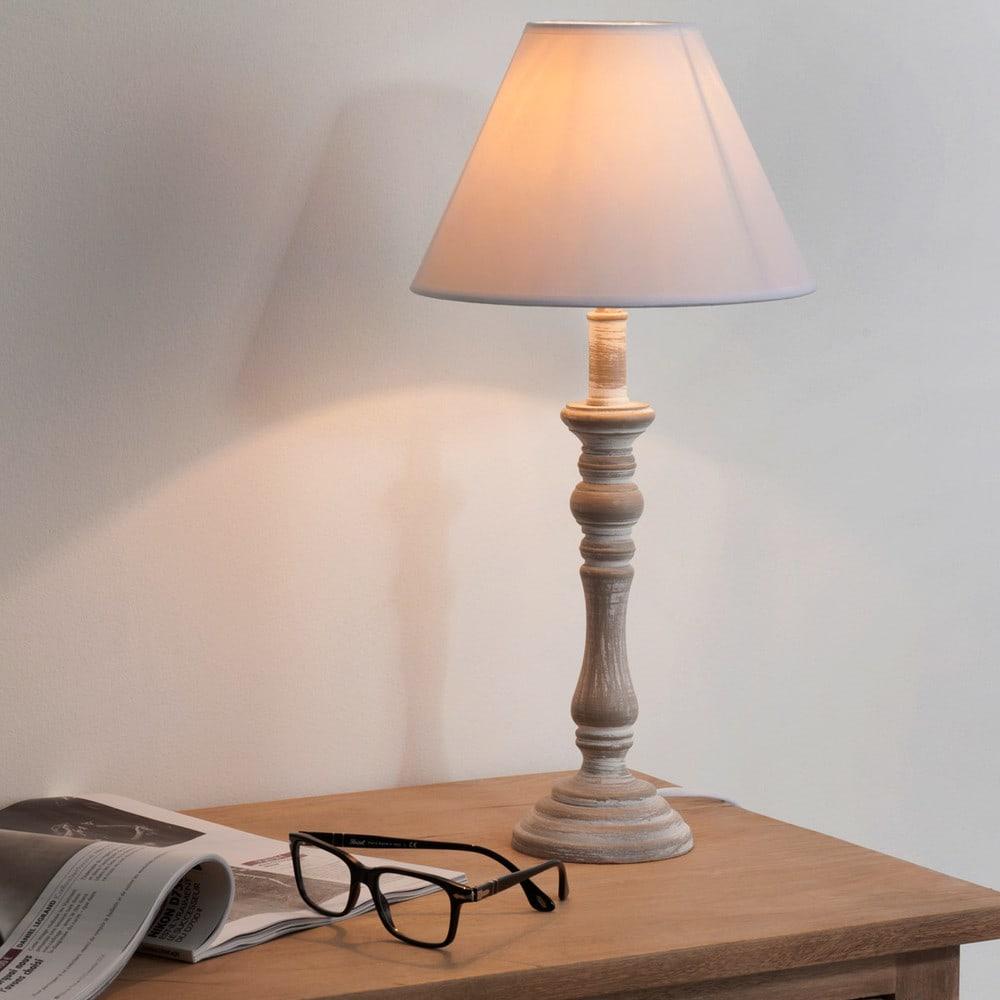lampe de chevet tissu blanc h 45 cm lorine maisons du monde. Black Bedroom Furniture Sets. Home Design Ideas