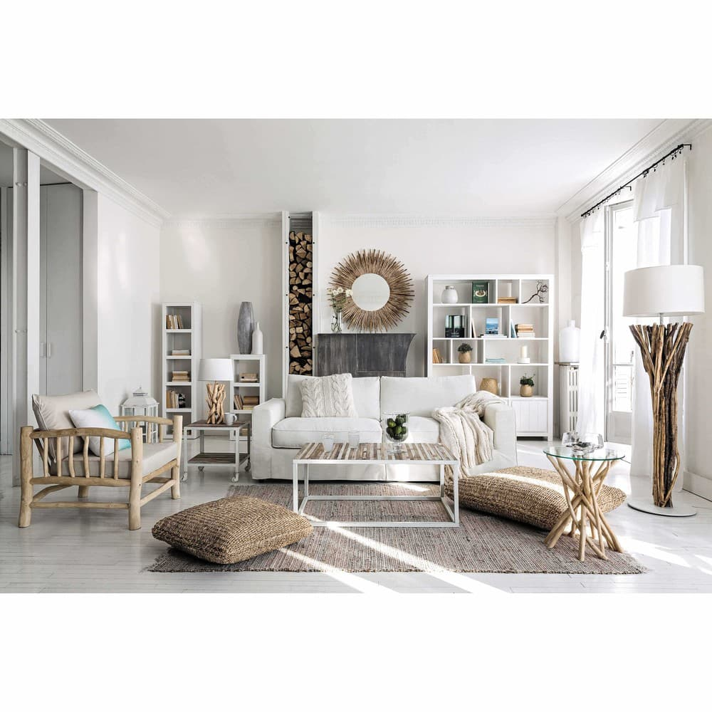 Lampe en bois flotté et abat-jour en coton H 55 cm Nirvana   Maisons ...