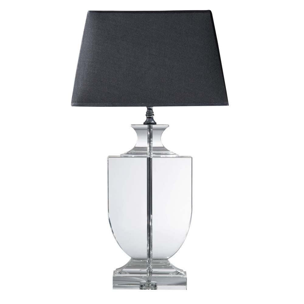 Lampe En Cristal Et Abat Jour En Coton Noire H 65 Cm Mirano