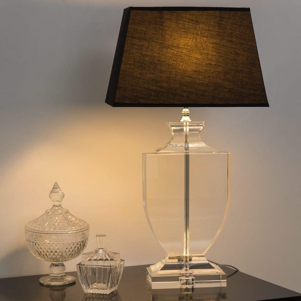 lampe en cristal et abat jour en coton noire h 65 cm. Black Bedroom Furniture Sets. Home Design Ideas