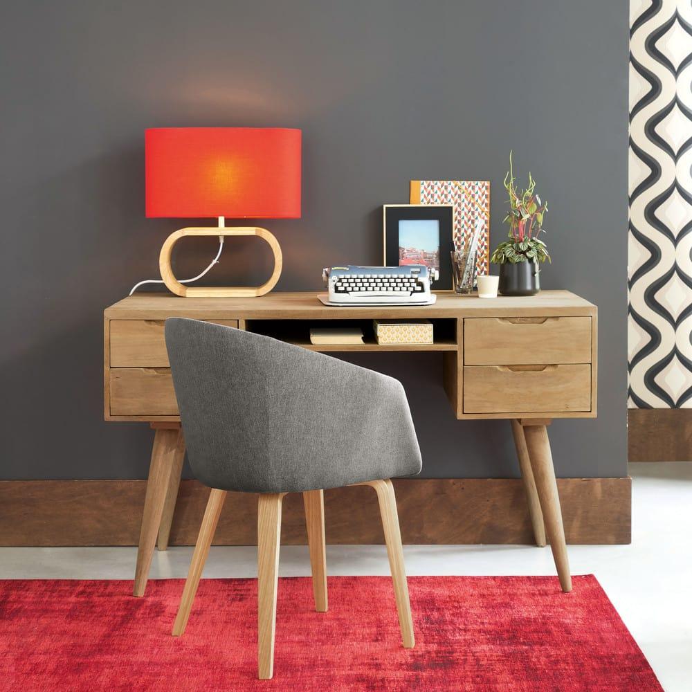 lampe en fr ne et abat jour rouge trocadero maisons du monde. Black Bedroom Furniture Sets. Home Design Ideas