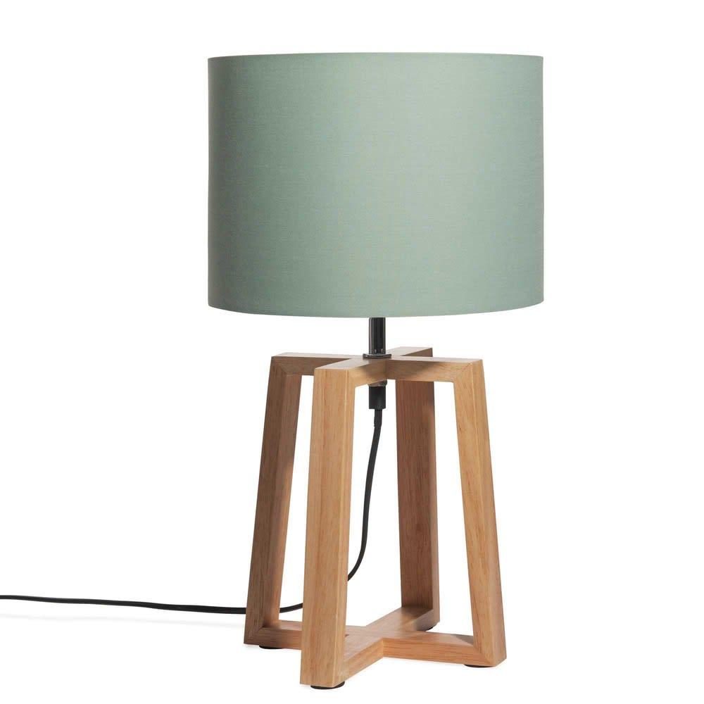 abat jour vert Lampe en hévéa avec abat-jour vert menthe Hedmark