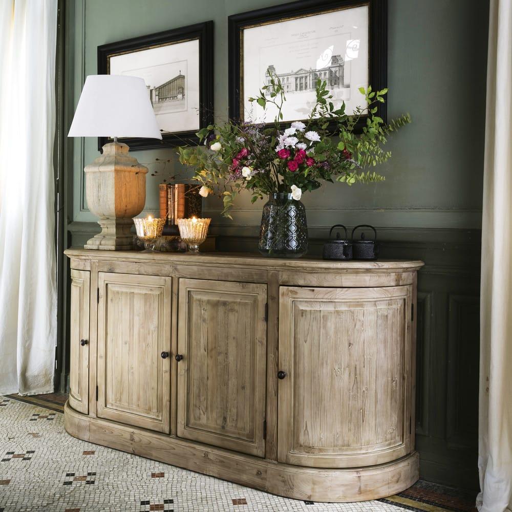 lampe en manguier et abat jour beige saumur maisons du monde. Black Bedroom Furniture Sets. Home Design Ideas