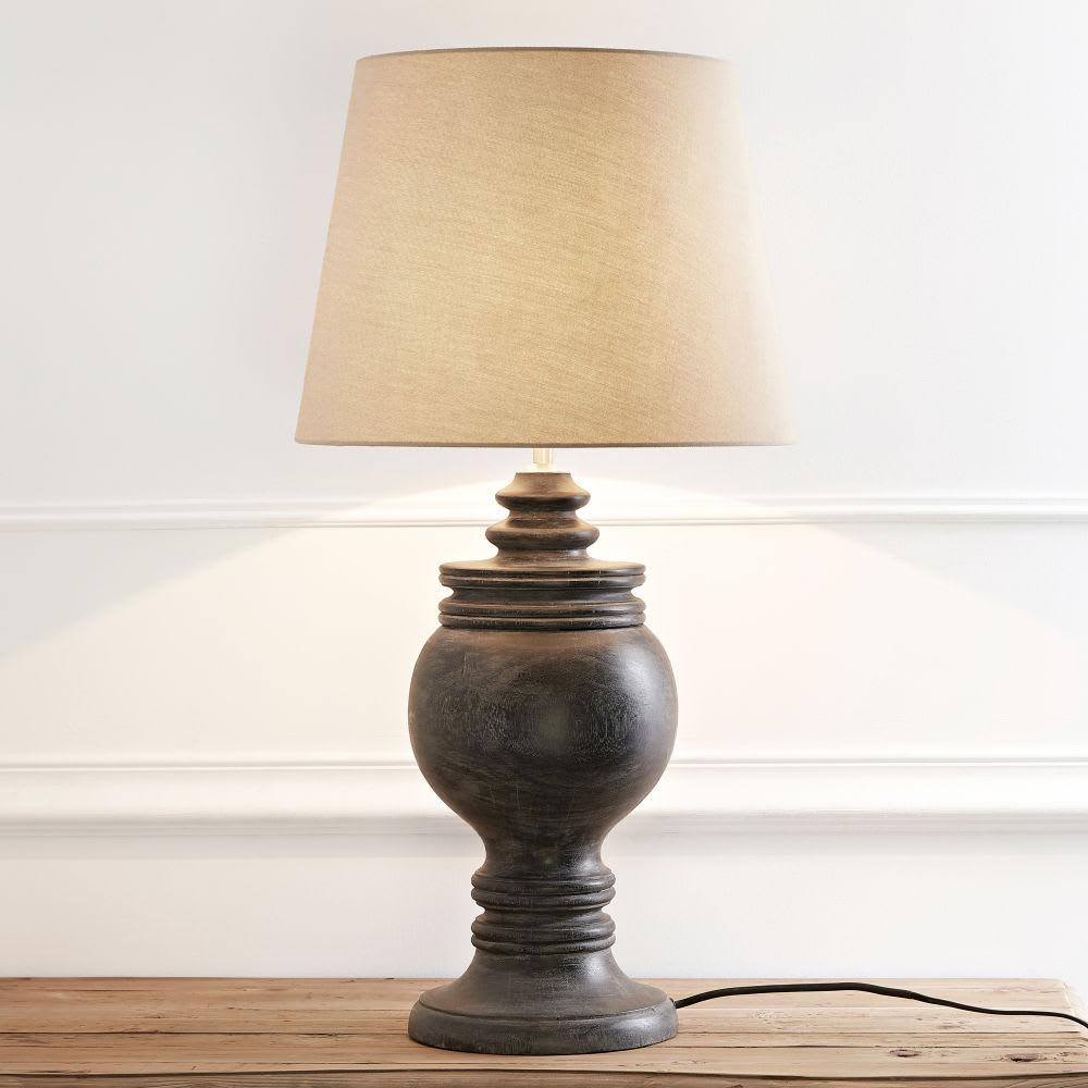 lampe en manguier noir et abat jour beige colomb maisons. Black Bedroom Furniture Sets. Home Design Ideas