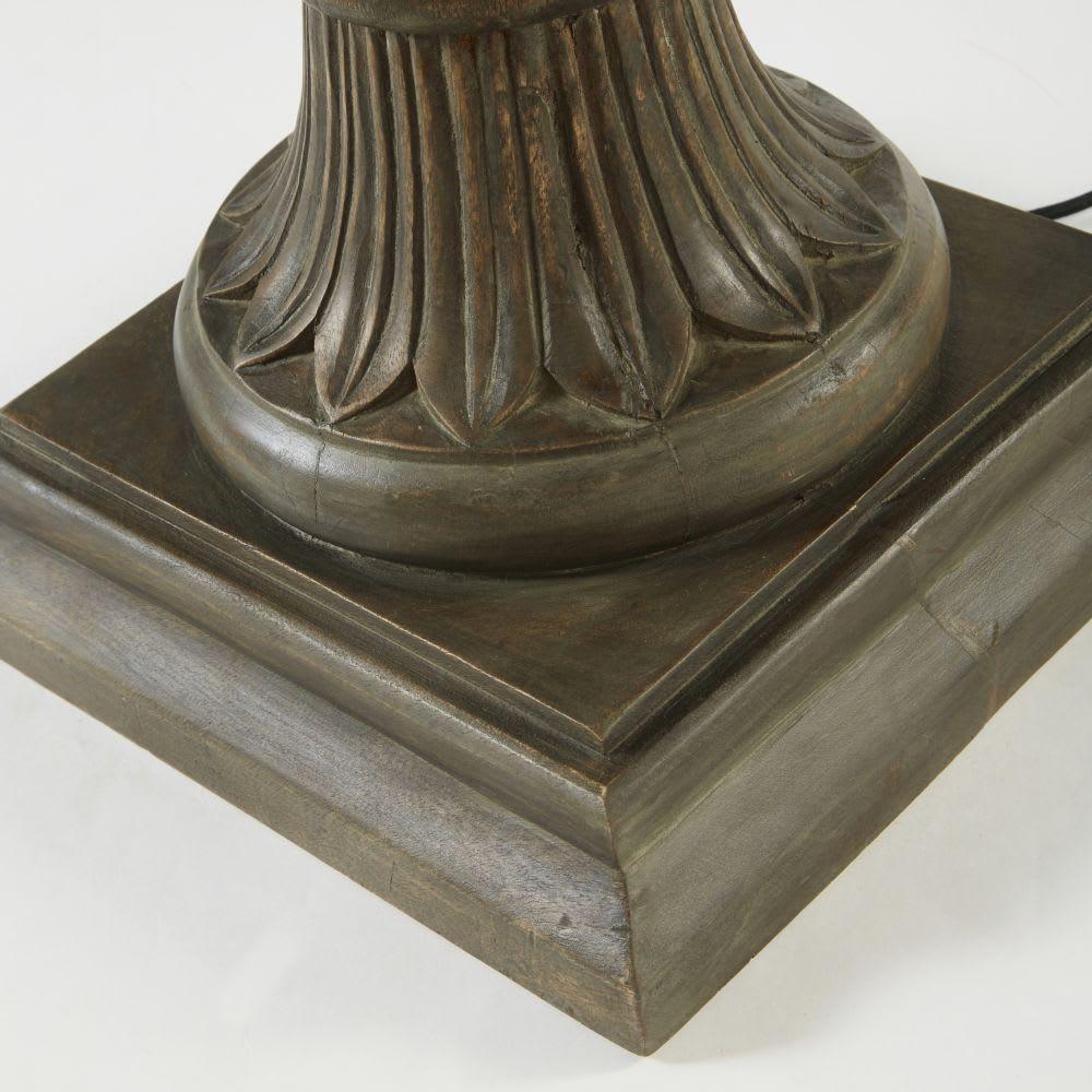 lampe en manguier sculpt et abat jour beige camelia. Black Bedroom Furniture Sets. Home Design Ideas