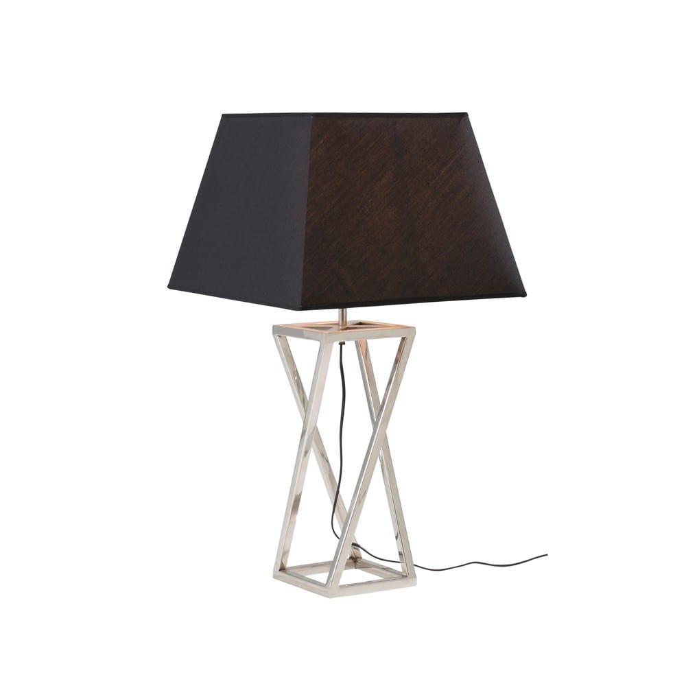 lampe en m tal argent et abat jour noir portland. Black Bedroom Furniture Sets. Home Design Ideas