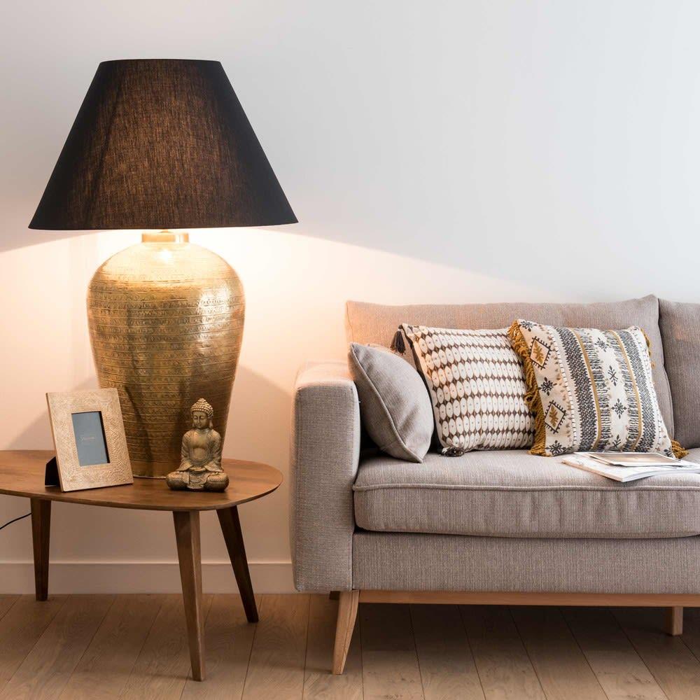 lampe en m tal bronze et abat jour noir madura maisons. Black Bedroom Furniture Sets. Home Design Ideas