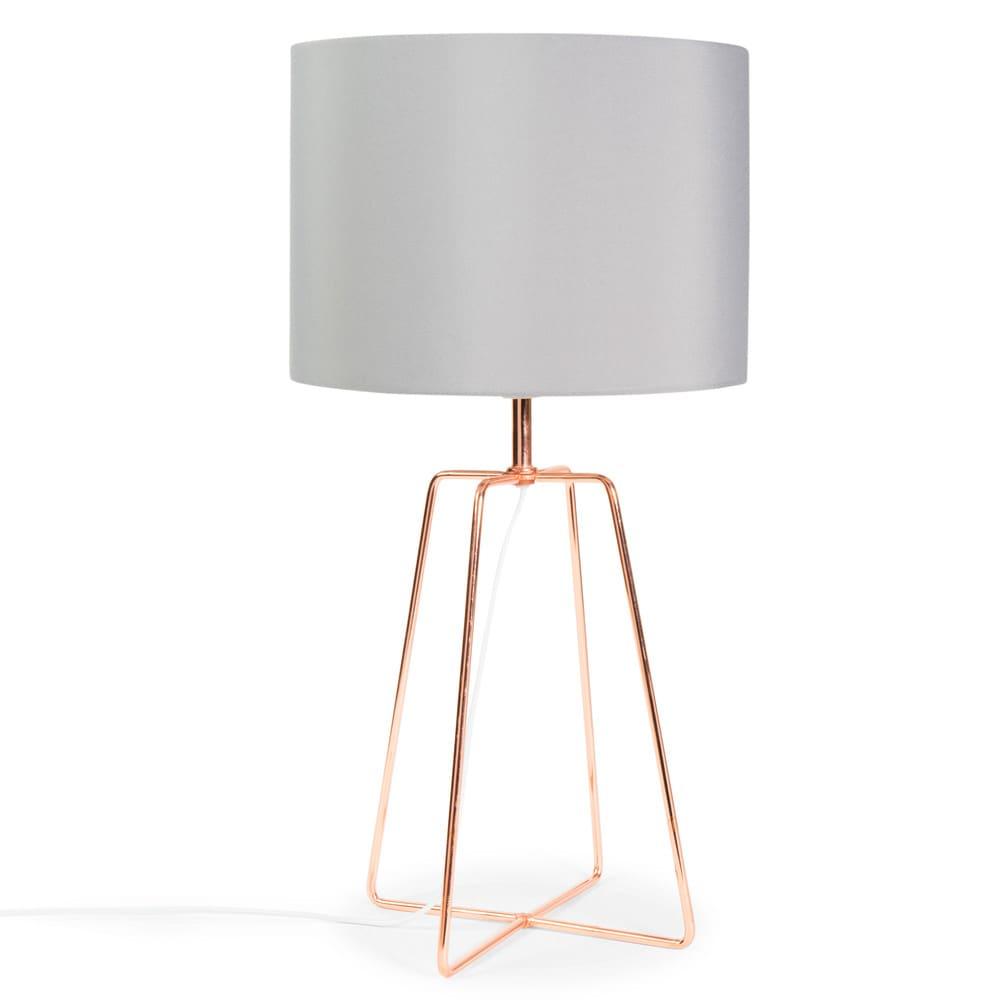 Lampe En Metal Cuivre Et Abat Jour Gris H 49 Cm Crossy Copper