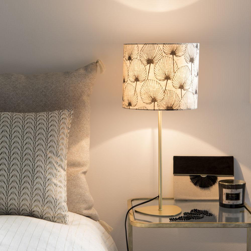 lampe en m tal dor et abat jour imprim v g tal monstera. Black Bedroom Furniture Sets. Home Design Ideas
