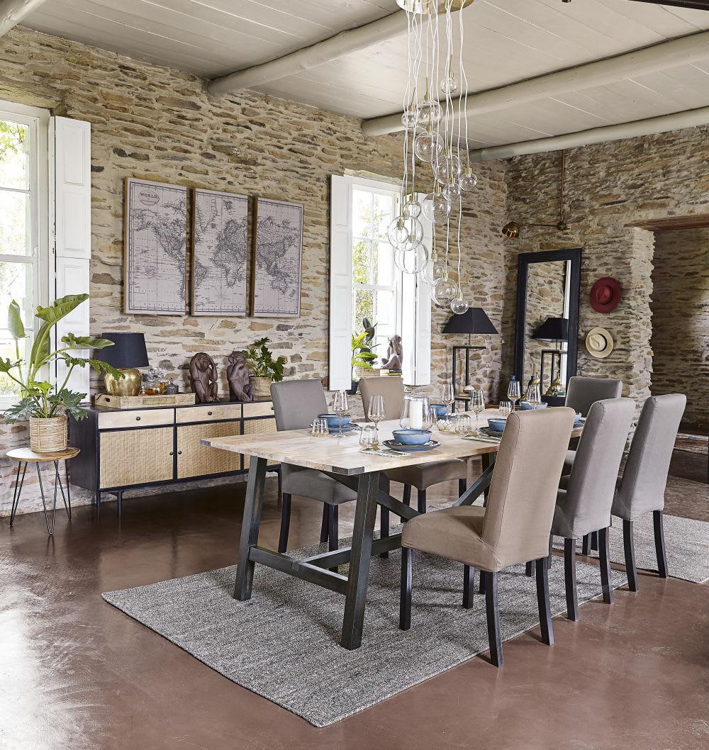 lampe en m tal dor et abat jour noir zimba maisons du monde. Black Bedroom Furniture Sets. Home Design Ideas