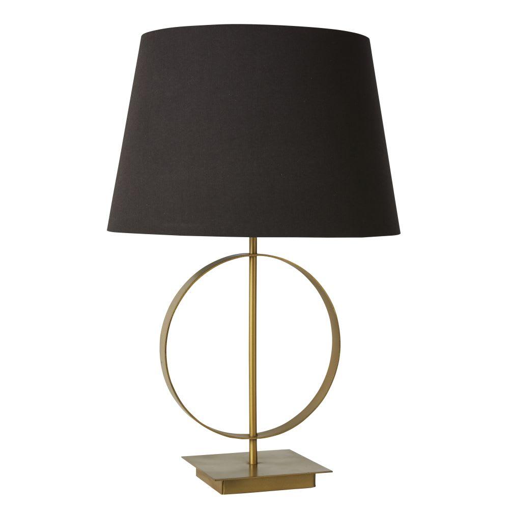 lampe en m tal dor et abat jour noir carat maisons du monde. Black Bedroom Furniture Sets. Home Design Ideas