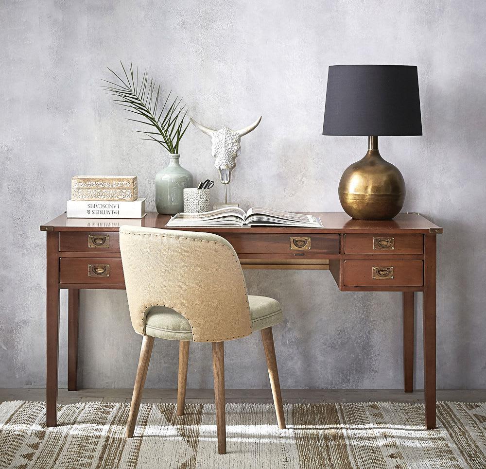 lampe en m tal dor patin et abat jour noir batanga. Black Bedroom Furniture Sets. Home Design Ideas