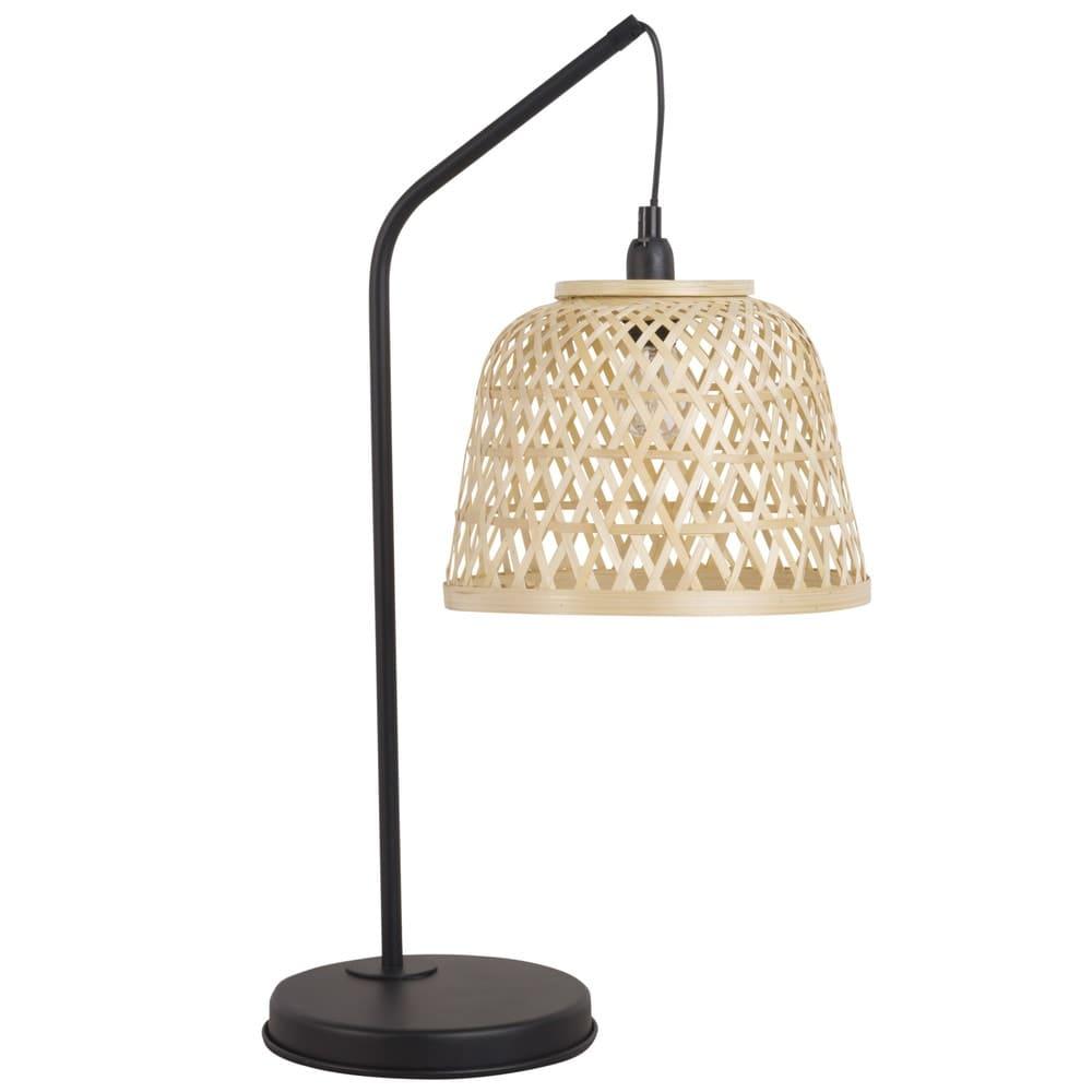 lampe en m tal noir et abat jour en rotin hendaye. Black Bedroom Furniture Sets. Home Design Ideas