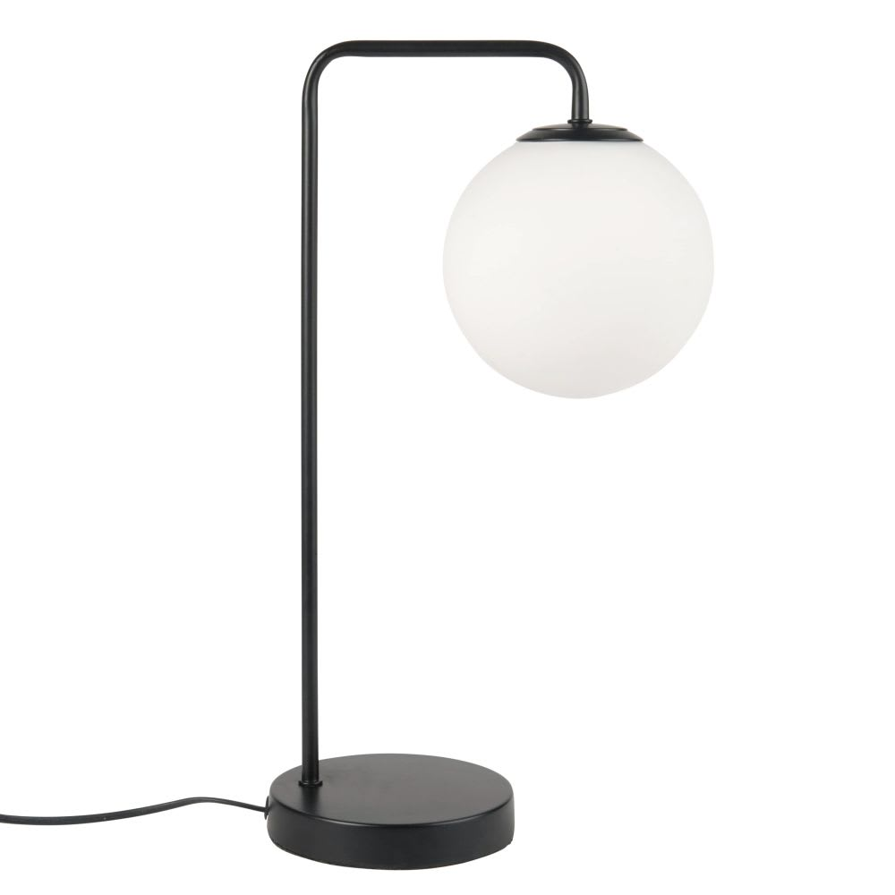 Fantastisk Lampe en métal noir et globe en verre blanc Amsterdam   Maisons du YK06