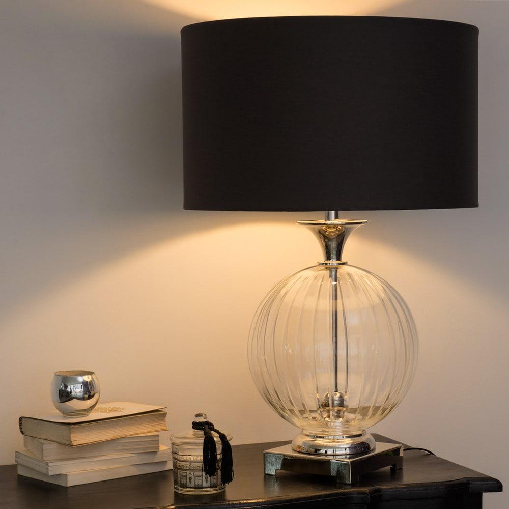lampe en verre abat jour en coton anthracite sylphide maisons du monde. Black Bedroom Furniture Sets. Home Design Ideas