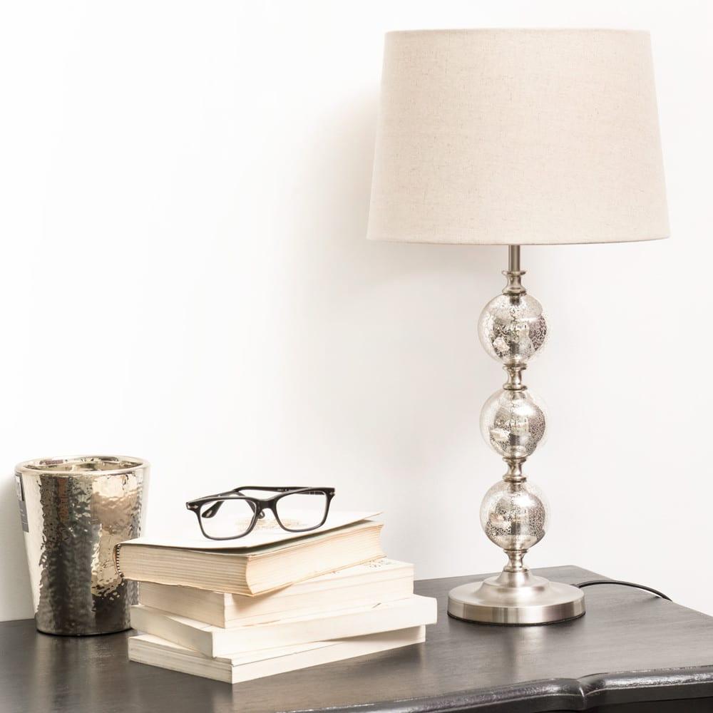 lampe en verre avec abat jour beige antic silver maisons. Black Bedroom Furniture Sets. Home Design Ideas