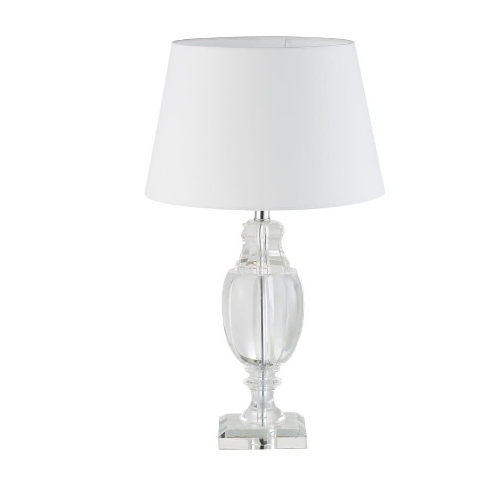 lampe en verre et abat jour blanc brandford maisons du monde