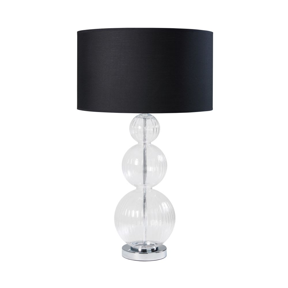 lampe en verre et abat jour noir cleophee maisons du monde. Black Bedroom Furniture Sets. Home Design Ideas