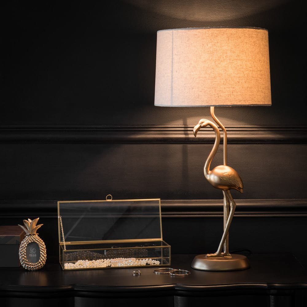 lampe flamant rose dor e abat jour beige flamingo. Black Bedroom Furniture Sets. Home Design Ideas