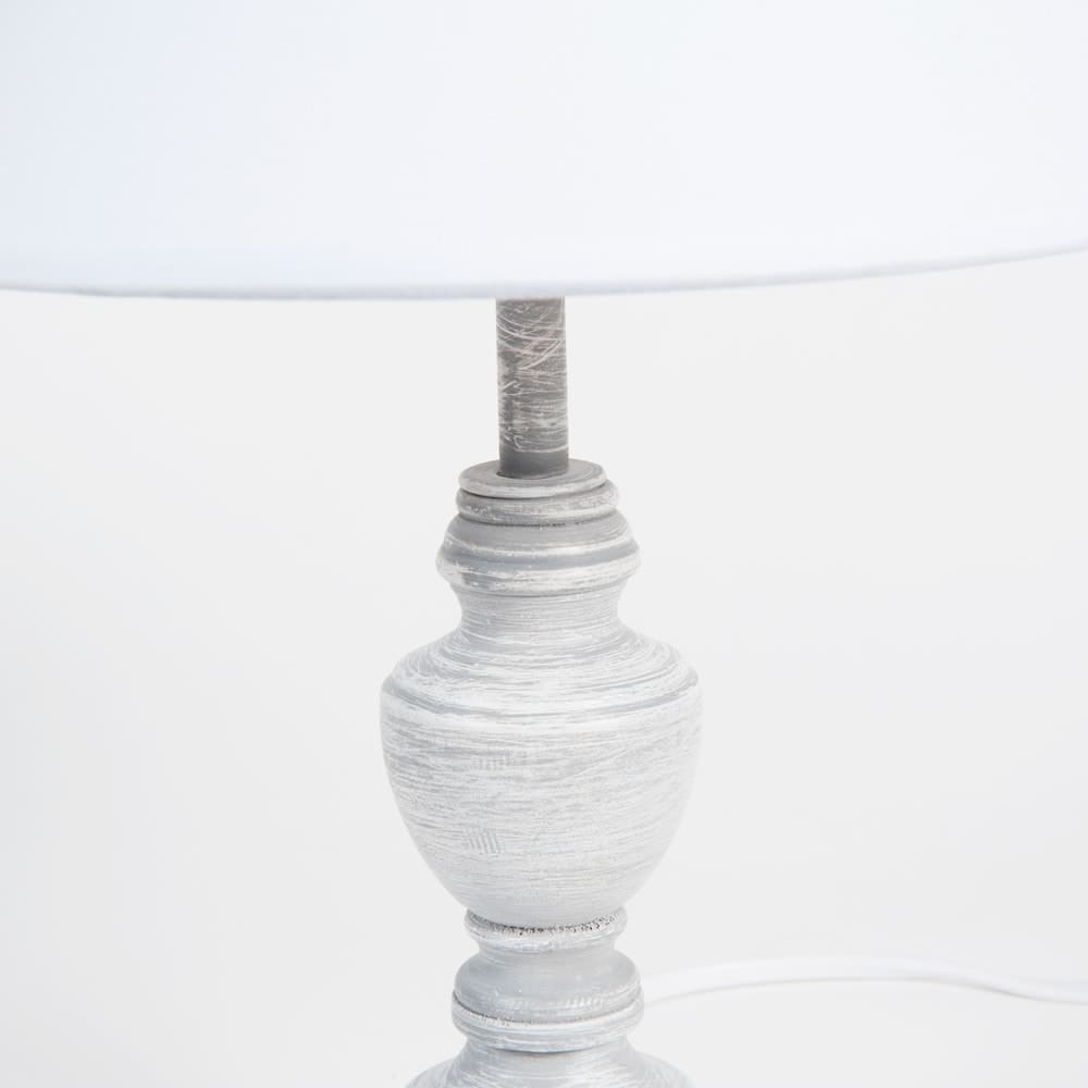 lampe aus holz mit lampenschirm aus stoff wei h28. Black Bedroom Furniture Sets. Home Design Ideas
