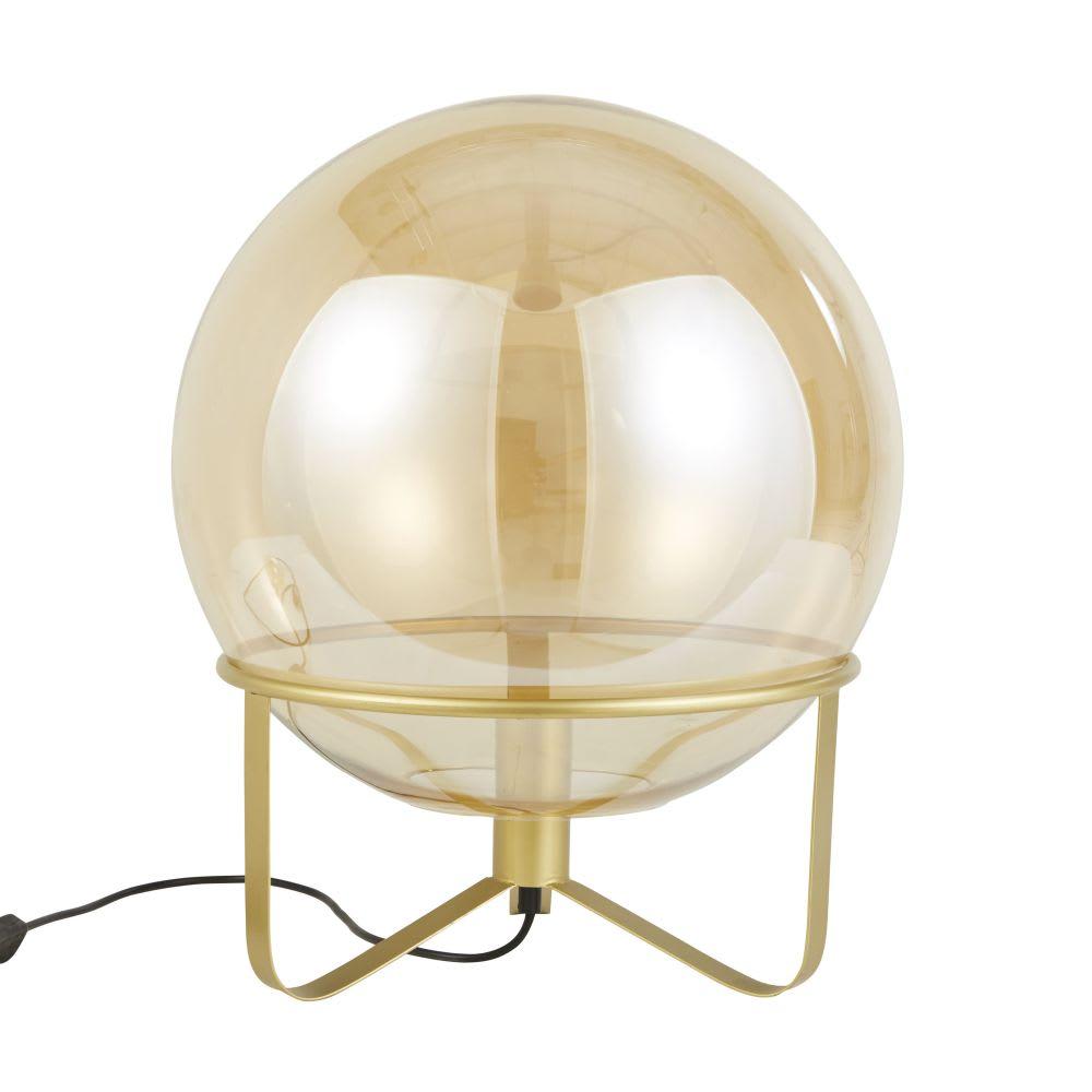 Massivt Lampe globe en verre ambré et métal doré Dylan   Maisons du Monde PK27
