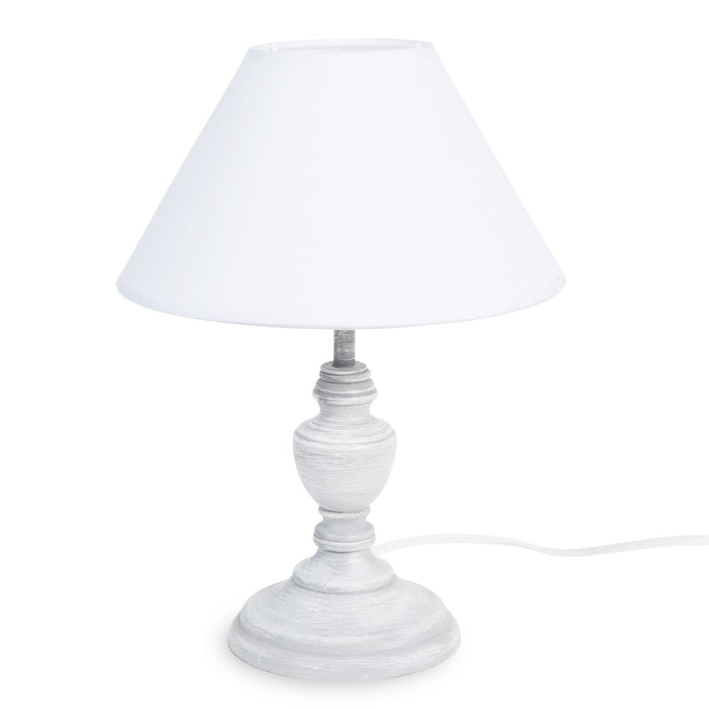 lampe grise effet blanchi et abat jour blanc garance. Black Bedroom Furniture Sets. Home Design Ideas