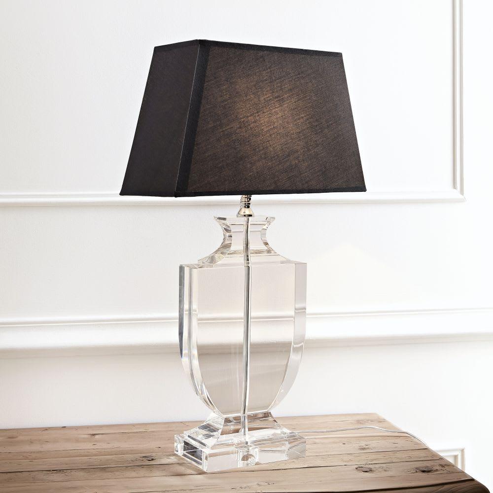 lampe aus kristall mit lampenschirm aus baumwolle h65 schwarz mirano maisons du monde. Black Bedroom Furniture Sets. Home Design Ideas