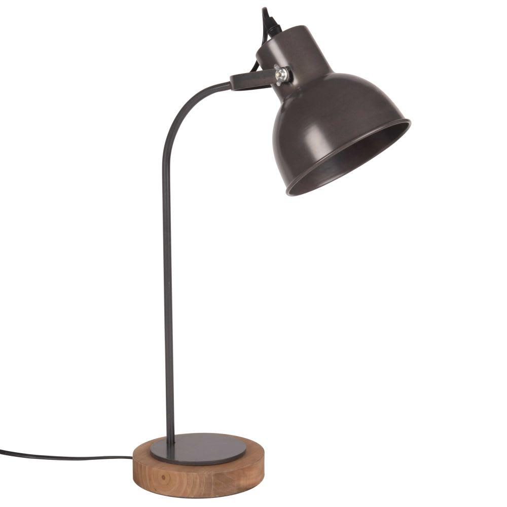 Lampe Mit Kiefernholzsockel Und Schirm Aus Perforiertem Schwarzem Metall