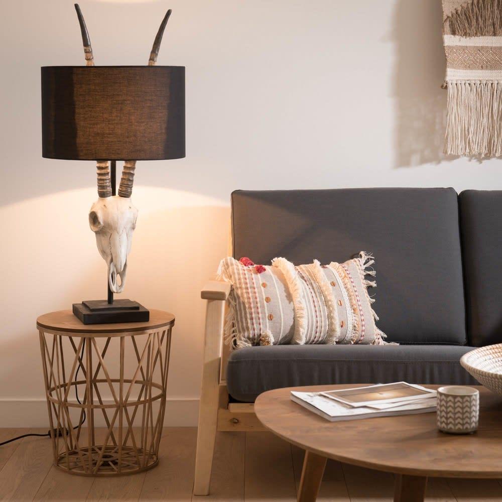 lampe t te de gazelle et abat jour noir arizona maisons. Black Bedroom Furniture Sets. Home Design Ideas