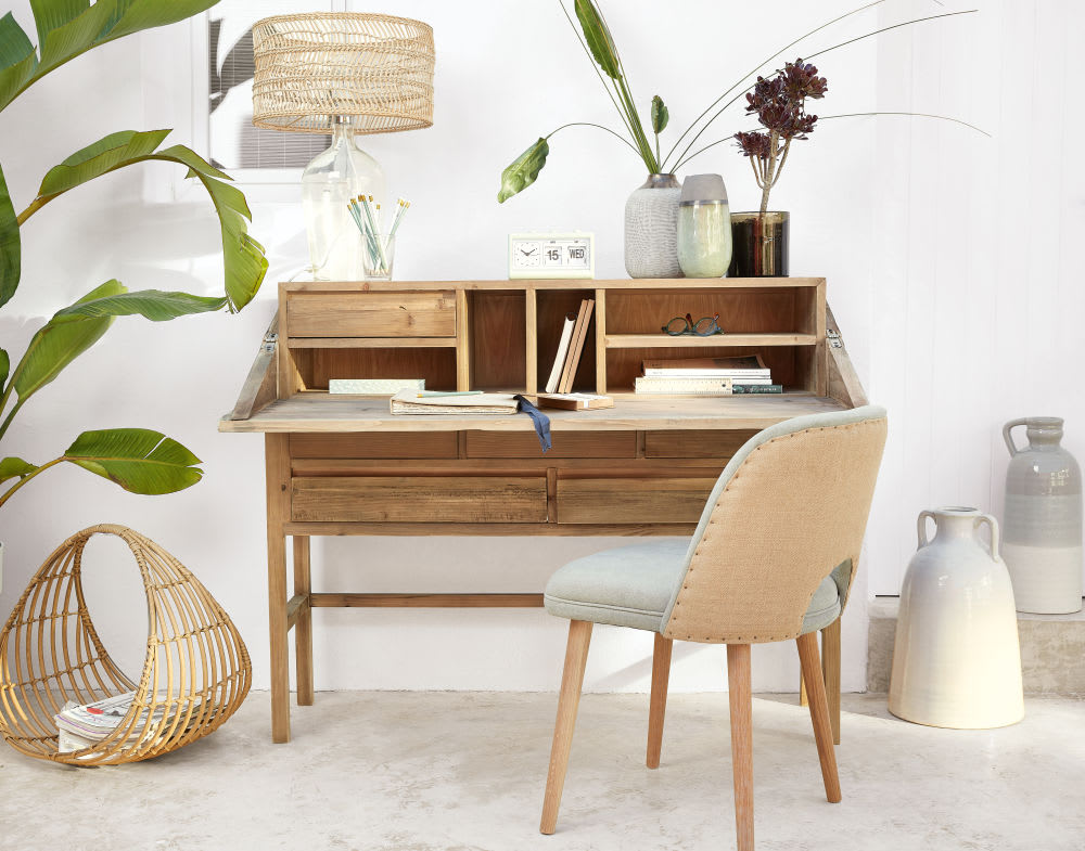 lampe tr pied en m tal dor et abat jour imprim tropical. Black Bedroom Furniture Sets. Home Design Ideas