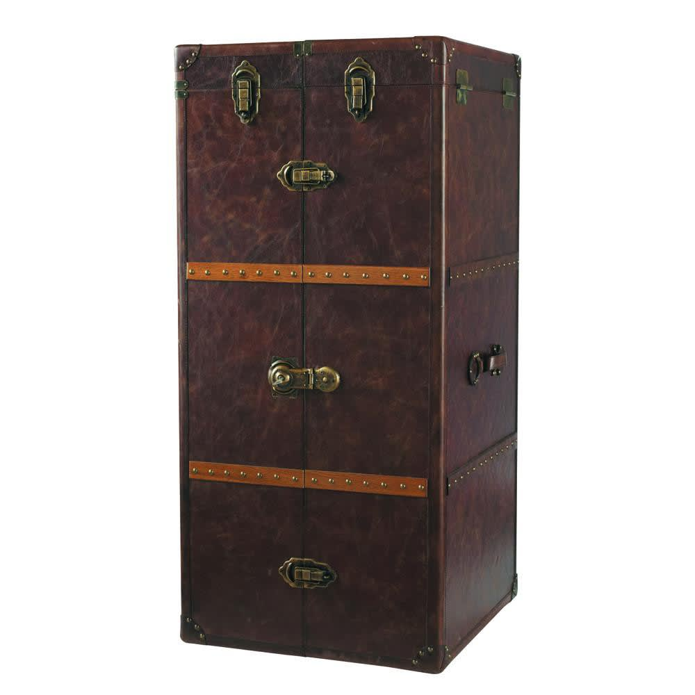 Leather bar unit with drawers jules verne