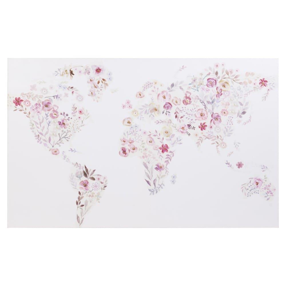 Leinwand Mit Druckmotiv Blumenübersäte Weltkarte 80x50