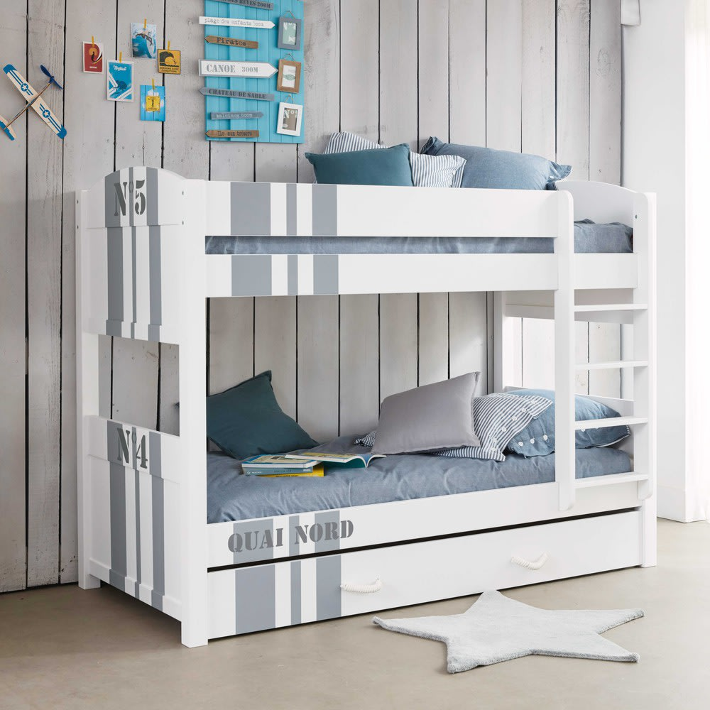 letti a castello bianco 90x190 cm quai nord maisons du monde