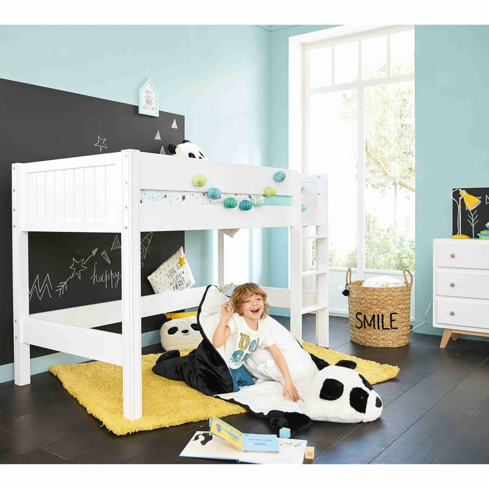 Letto a soppalco grigio per bambini 90x190 tonic maisons - Letto soppalco per bambini ...
