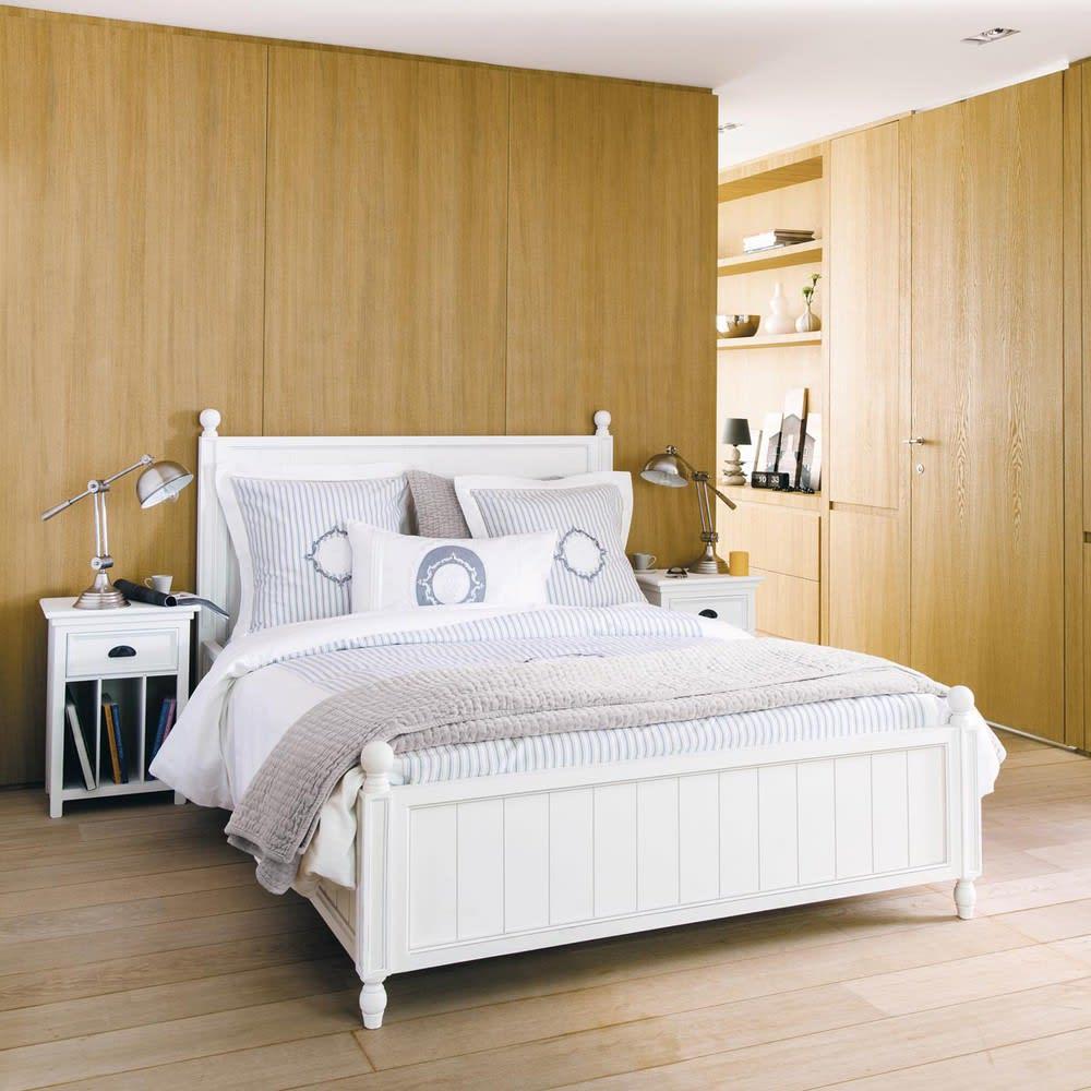 Letto bianco 140 x 190 in legno bianco newport maisons du monde - Testate letto maison du monde ...