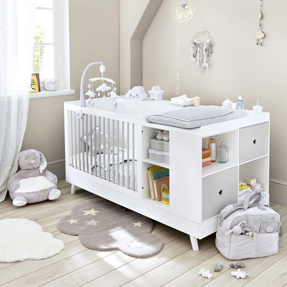Letto combinato per neonato bianco e grigio 190 cm Celeste