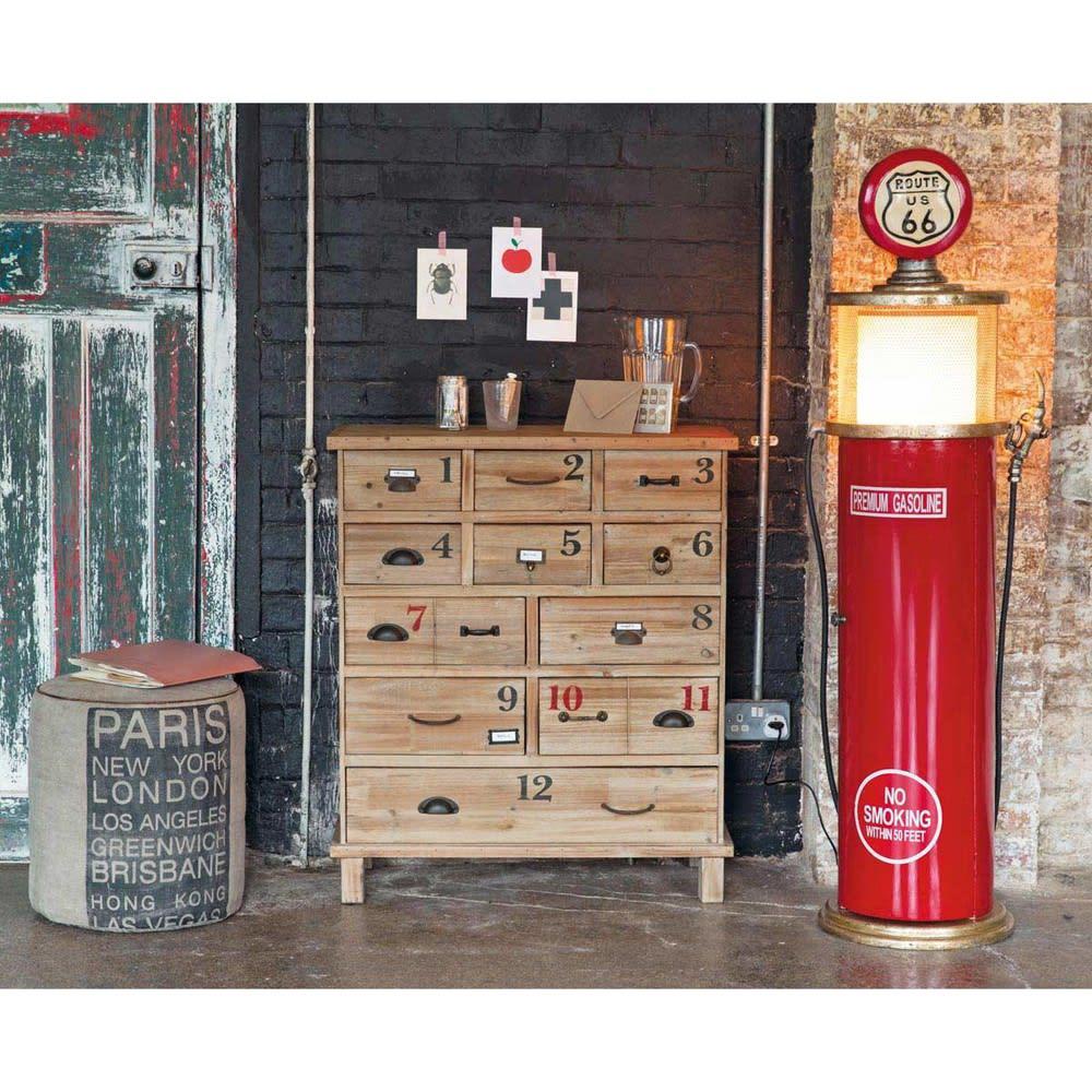 leuchte und cd st nder aus metall und holz h 152 cm rot. Black Bedroom Furniture Sets. Home Design Ideas