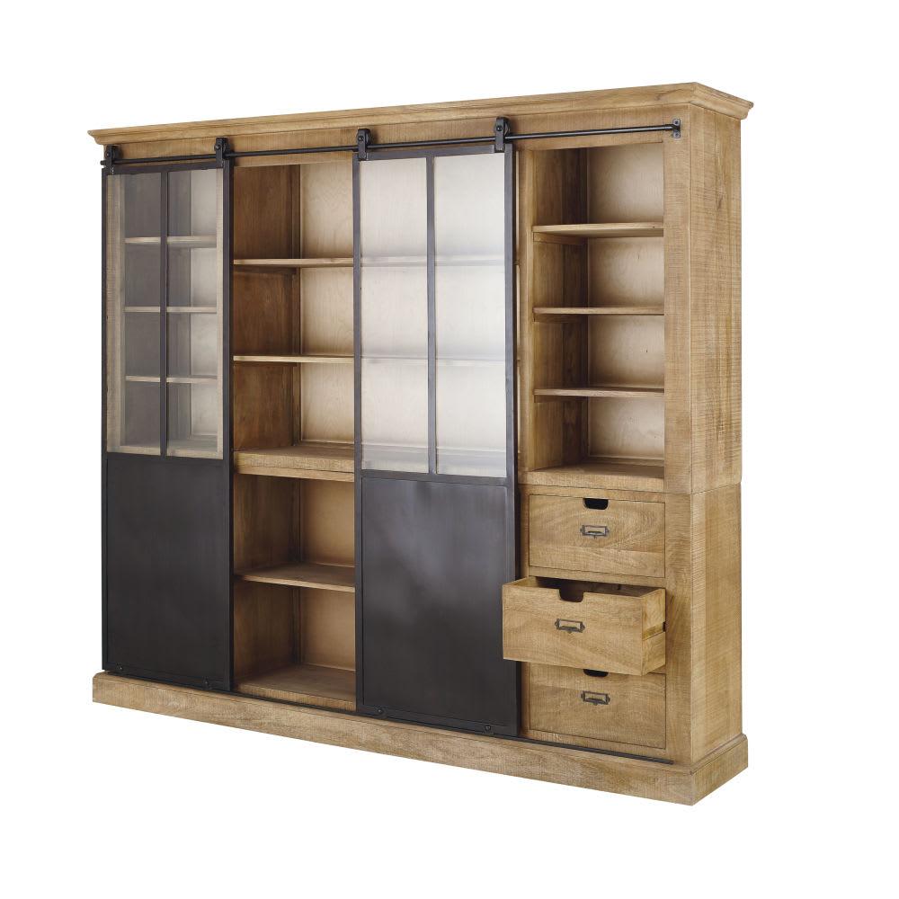 Libreria a 2 ante in legno massello di mango e metallo Germain ...