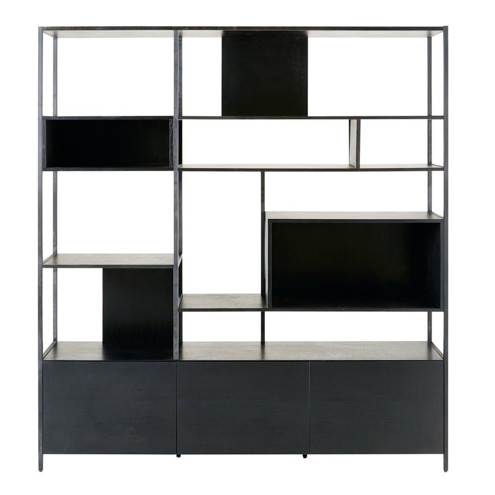 Libreria a 3 ante in metallo nera Opal | Maisons du Monde