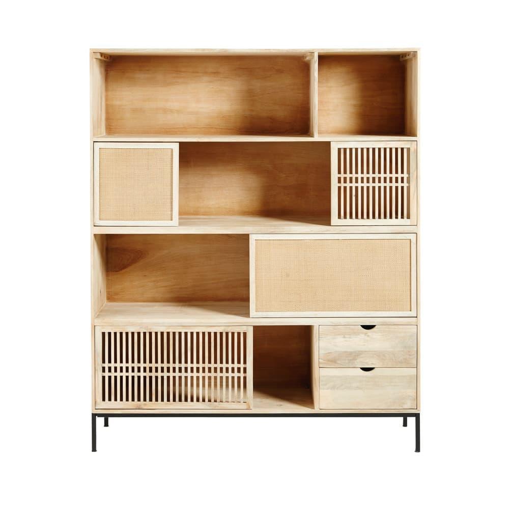 Libreria a 4 ante e 2 cassetti in legno massello di mango Helios ...