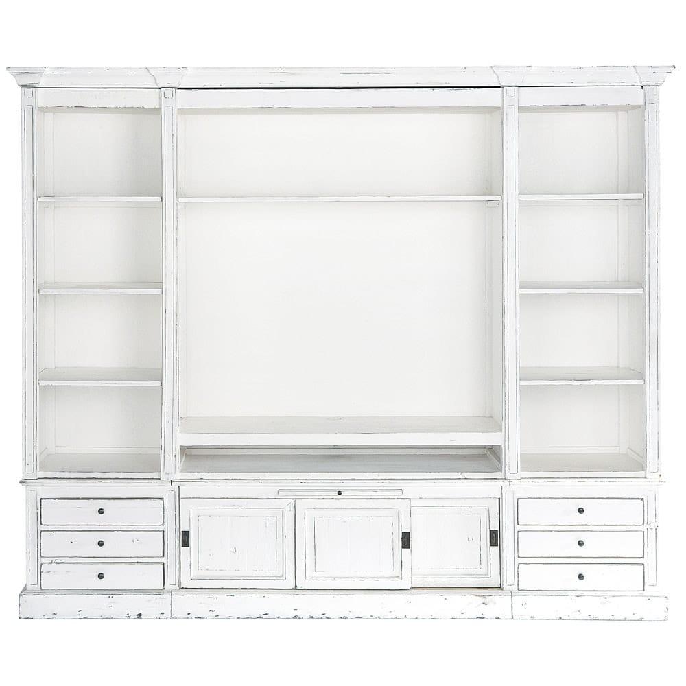 Libreria porta-TV color avorio in massello di legno L 264 cm Passy ...