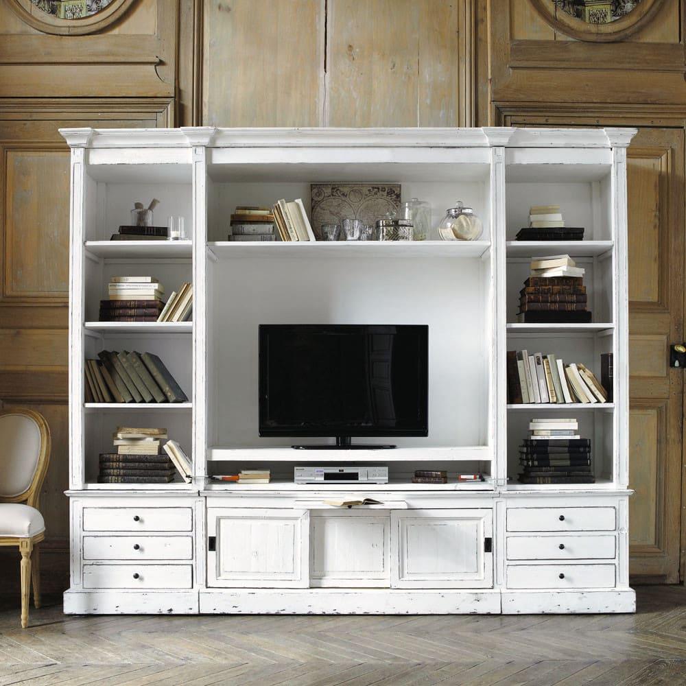 Libreria porta-TV in pino massiccio riciclato color avorio Passy ...