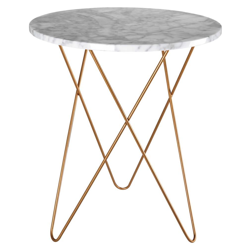 Tavolini Maison Du Monde.Light Coloured Marble And Gold Metal Side Table Odyssee Maisons Du