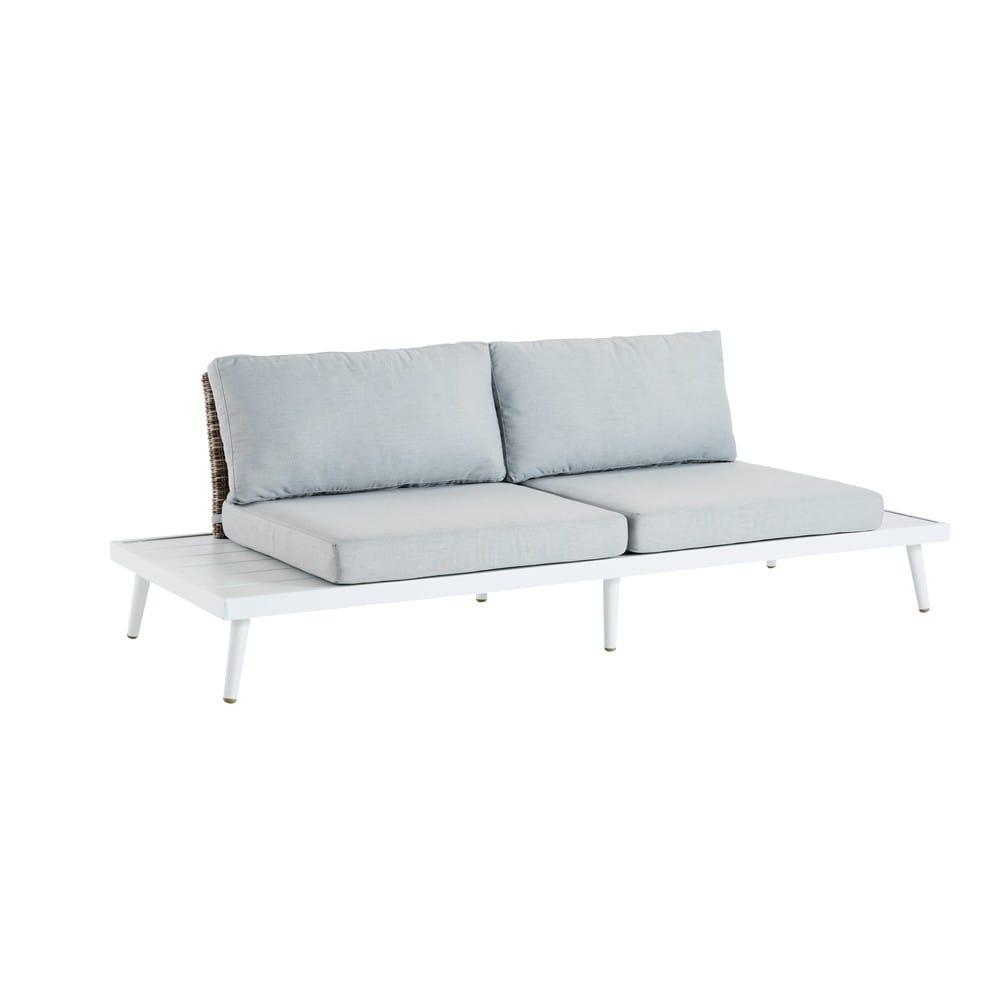 Light Grey 3-Seater Resin Wicker Garden Sofa Bench West ...