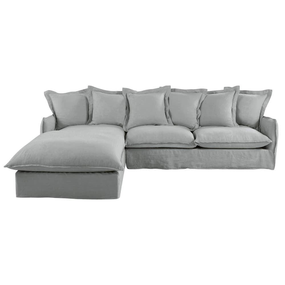Light Grey 6-Seater Washed Linen Left-Hand Corner Sofa Bed Barcelone ...