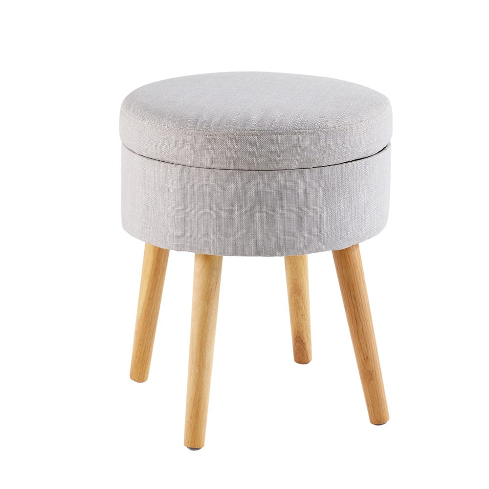 Light grey storage stool with rubber wood legs pinup