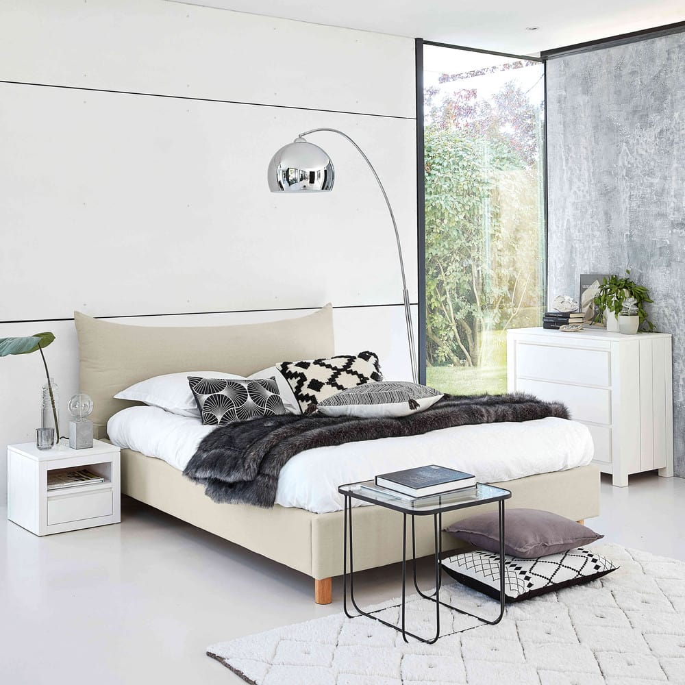 lit 140x190 avec sommier lattes beige fergus maisons du monde. Black Bedroom Furniture Sets. Home Design Ideas